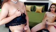 Two wild and sexy shemale couple do some hot scene on cam