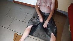 wetting grey skirt