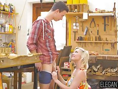 Horny blonde Zazie Skym takes long sword in her tight asshol