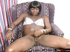 Black teen shemale in bikini wanks her shecock till cumshot