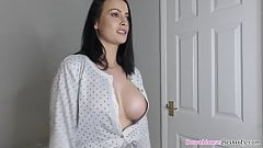 Cute busty brunette babe dancing and bouncing tits