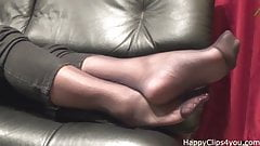 Kimberly stockinged footplay