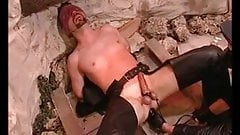 Eyefolded gay slave gets humiliate and balls punished