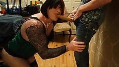 chantal on her knees sucking chic with strapon