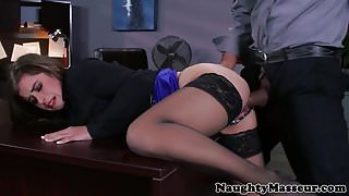 Babe pussy fucked with big cock in office