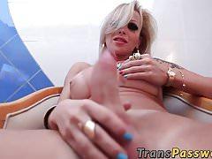 Blonde shemale caught wanking his big dick