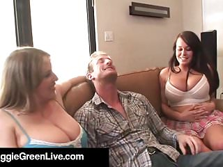 Natural Busty Maggie Green & Brandy Talore Get A Hard Cock!