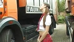 Naughty German student girl fucked by truck driver