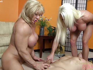 Preview 4 of Two Female Bodybuilders Fuck One Dude