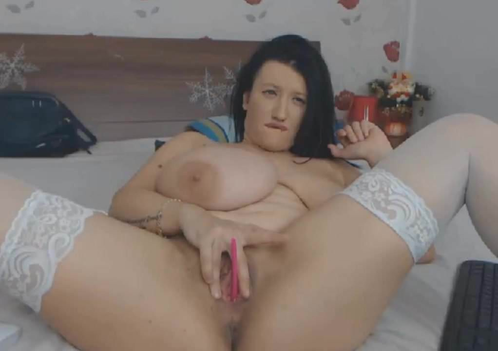 showing Busty tits brunette