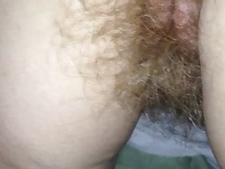 wifes long pubic hair hanging from her pussy & ass