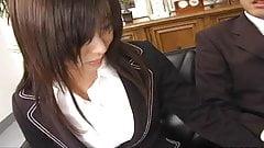 Secretary slut Satomi Maeno blows cock uncensored