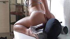Caged slave worships mistress' ass