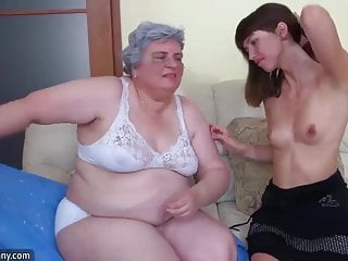 OldNanny Cute girl is enjoying with granny and then with guy