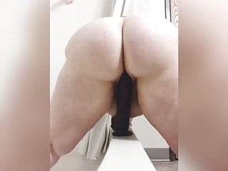 White Bbw With Sexy Moan Rides Big Black Dildo