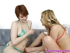 Bikini lesbian sucks toe while pussylicked 69