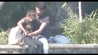 Desi couple having blowjob and fingering in public park