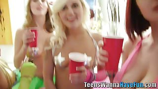 Party teens lick and fuck