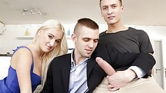 Bisex threesome with a big cocked masseur's Thumb