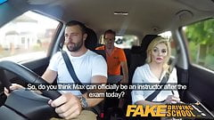 Fake Driving School Big facial finish for posh examiner