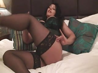 Green sweater and sex - British slut danica plays with herself in a green basque