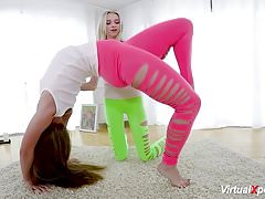 cute flexible lesbian stretching and licking