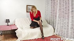 Mature blonde gets fed a big cock