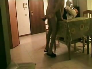Fucking my girlfriend on the kitchen table. Hidden cam