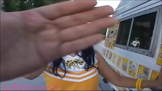 icecream truck teen cheerleader gets pounded and first taste