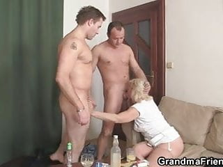 Threesome Party With Blonde Mature Widow