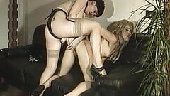 Two women have lesbian fun on the couch