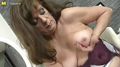 Sexy granny playing with her old pussy