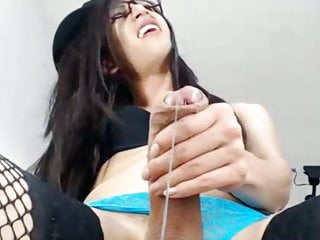 Amazing huge dick femboy cumshot webcam