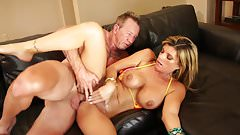 Blonde with huge tits rides a hunk reverse cowgirl