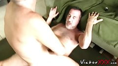 Hung ass destroyer makes his butt buddy cum while riding