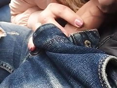 She Touches Dick in car & Lucky Cum