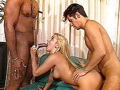Nasty amateur ex-girlfriend interracial 3some with facials