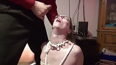Husband fucks his slave wife in the throat
