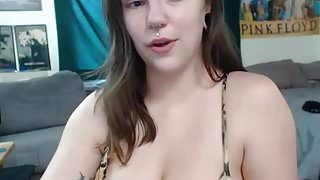 #2 Big tits, Busty, emo cam girl with piercing masturbating