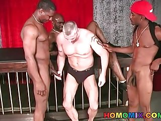 Preview 3 of Three black dudes sharing a muscular guy