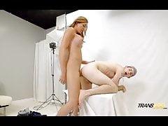 Busty tranny seduces white boy