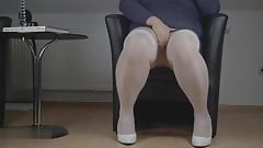 Crossdresser needs to pee really badly