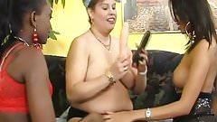 Three sluts in hot interracial action