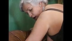 Grey-haired granny in a gangbang