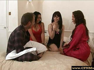 Ebony cfnm dominas tugging in group