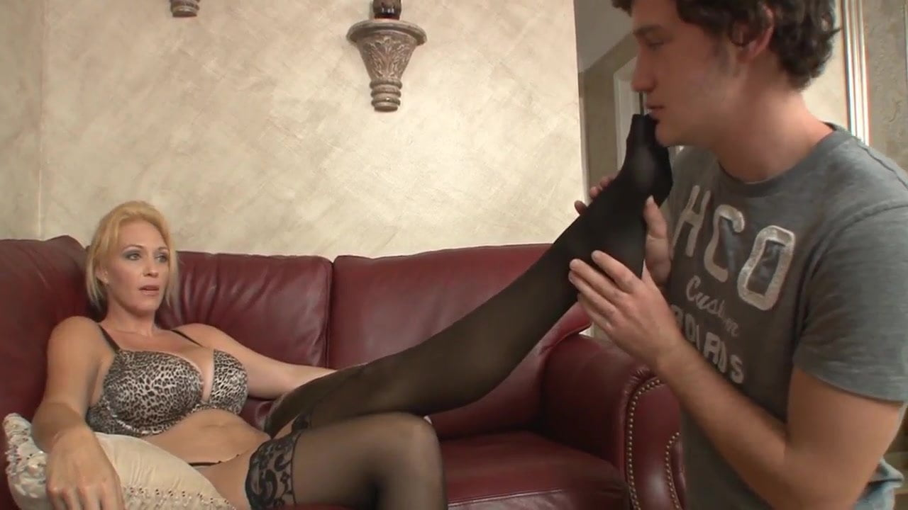 Shoe sniffing stepson become slave mom femdom cum on feet