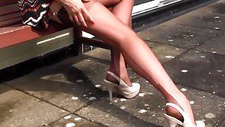 Milf Nylon Jane teases in nylons suspenders and high heels