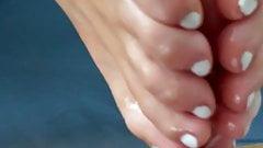 Sexy white toenails footjob
