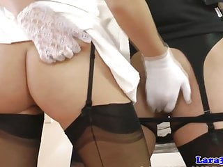 Stockings milf pussyrubbing babe before oral