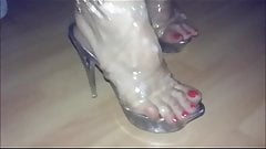 Clear heels covered of cum